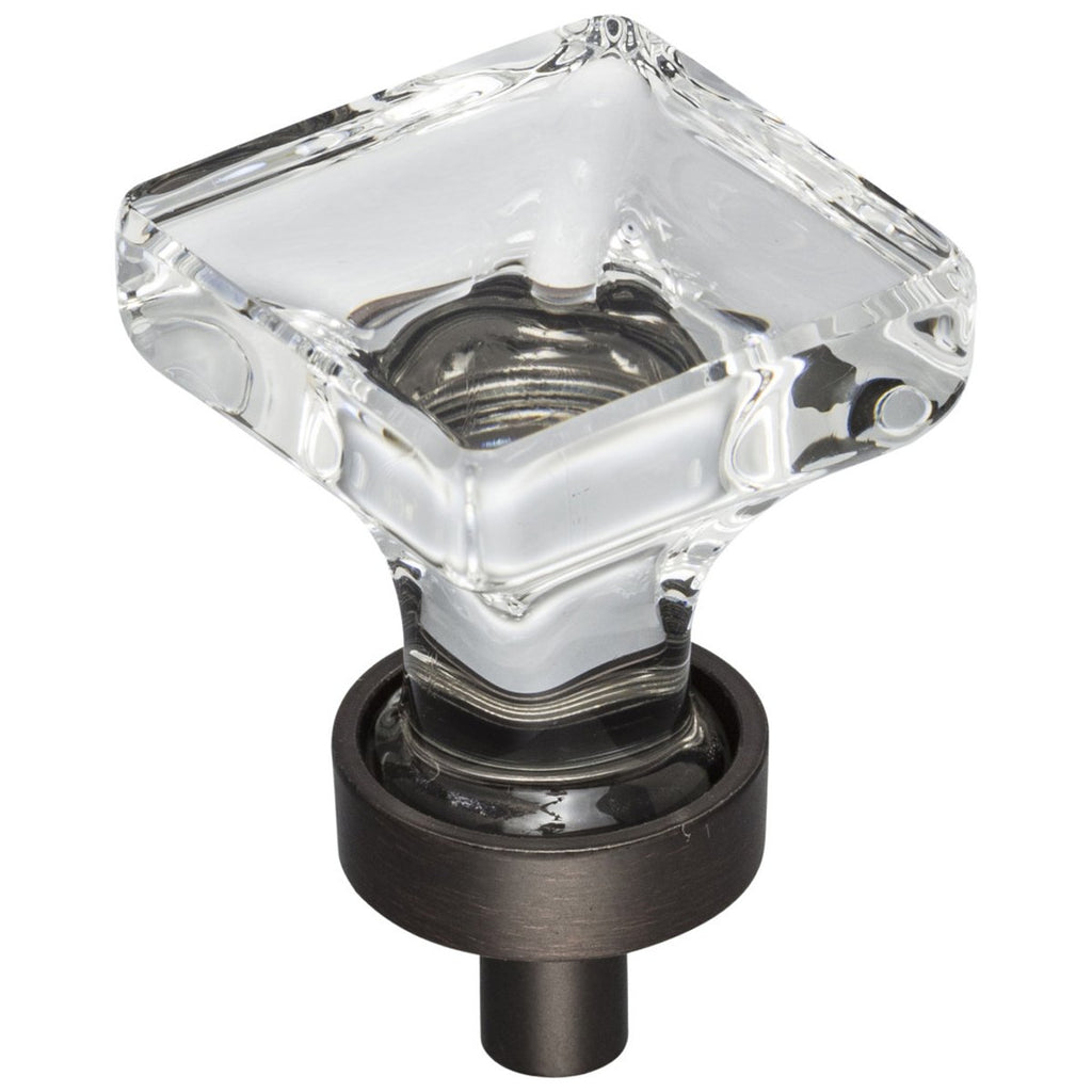 "1"" Overall Length Glass Square Cabinet Knob"