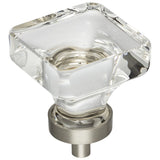 "1-3/8"" Overall Length Glass Square Cabinet Knob"