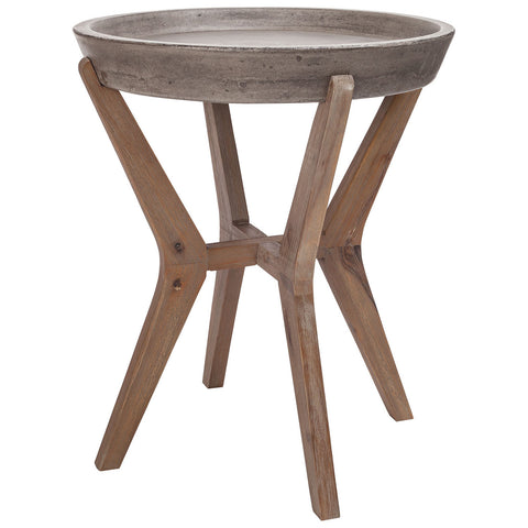Tonga Side Table in Waxed Concrete and Silver Brushed Woodtone