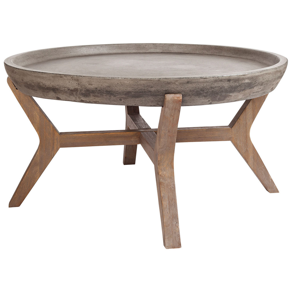 Tonga Coffee Table in Waxed Concrete and Silver Brushed Woodtone