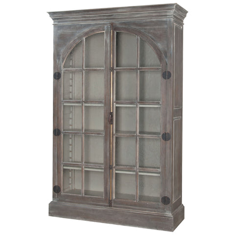 Manor Arched Door Display Cabinet in Waterfront Gray Stain and White Wash