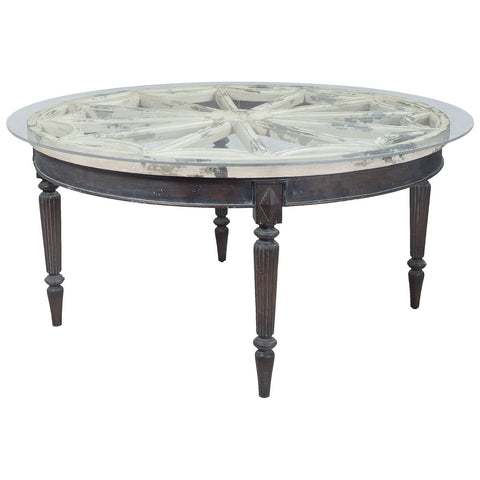 Artifacts Round Dining Table in Vintage Bouleau Blanc and Heritage Gray Stain
