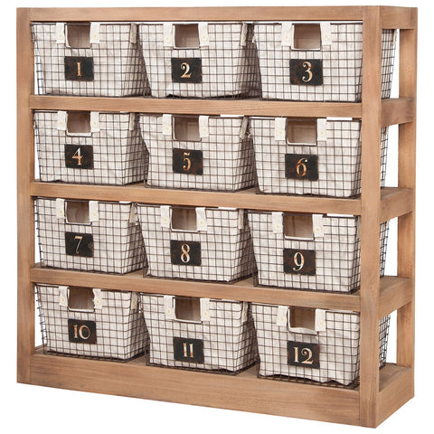 Locker Baskets with Shelves in Honey Oak