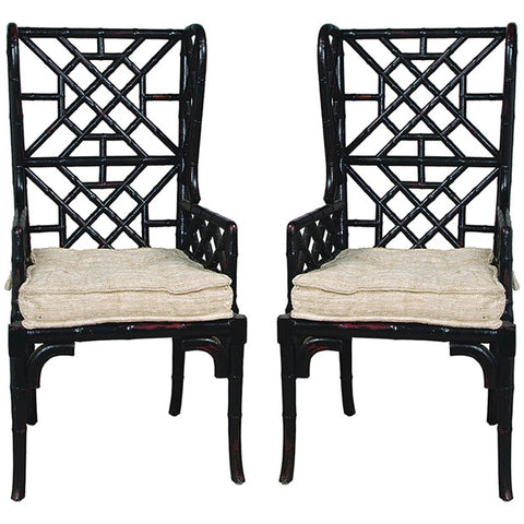 Bamboo Wing Back Chair in Black, Set of 2