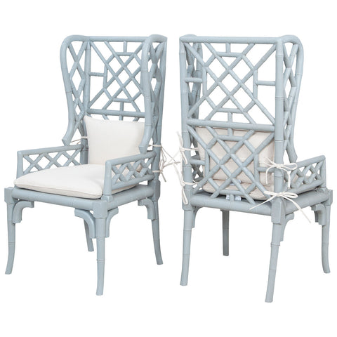 Bamboo Wing Back Chairs, Set of 2