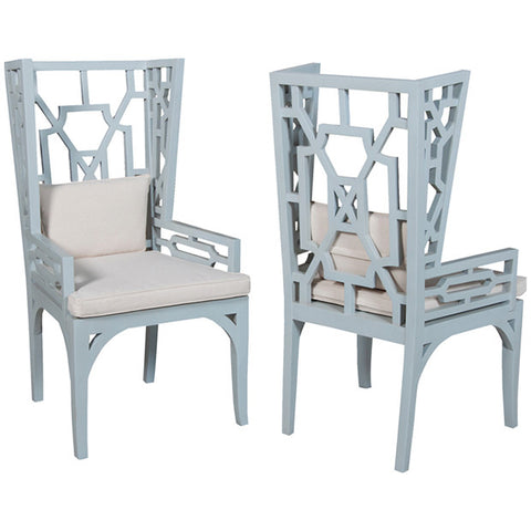 Manor Wing Chairs in Blue, Set of 2