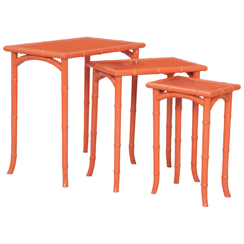 Loft Bamboo Nesting Tables in Loft Tangerine, Set of 3