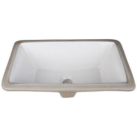 "16"" Rectangle Undermount White Porcelain Bowl"