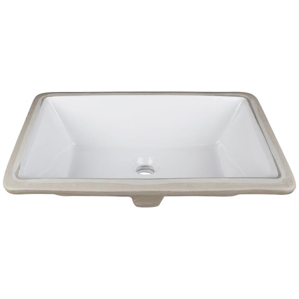 "18.5"" Rectangle Undermount White Porcelain Bowl"