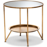 Baxton Studio Tamsin Antique Gold and Mirrored Accent Table with Tray Shelf