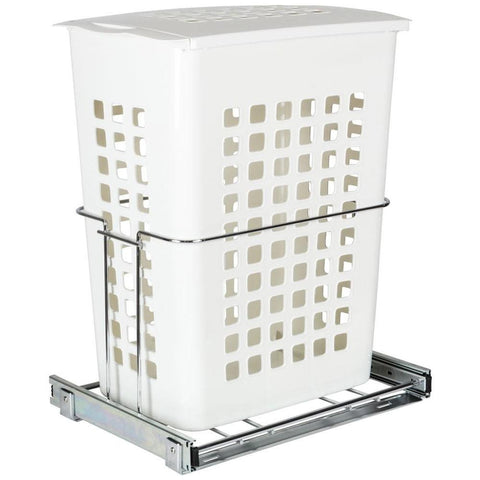 Plastic Pullout Hamper with Lid in Chrome