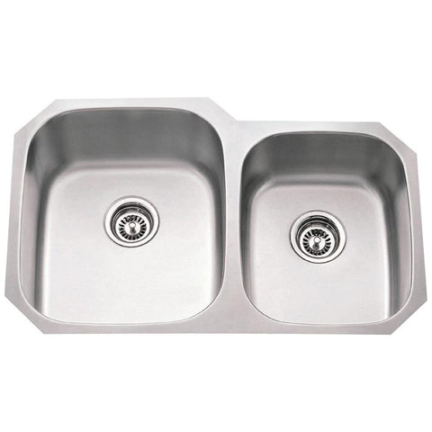 18 Gauge Stainless Steel Kitchen Sink with Two Unequal Bowls