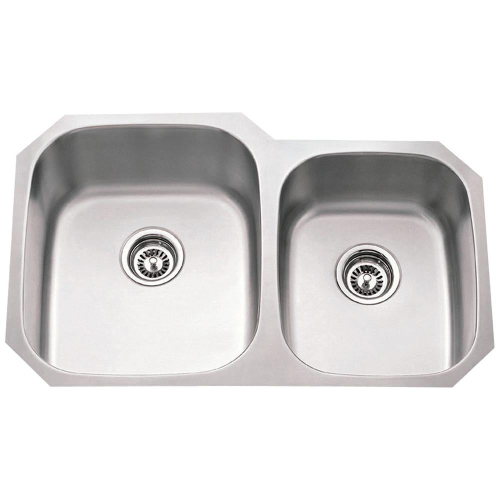 16 Gauge 60/40 Stainless Steel Undermount Sink Larger Left Bowl