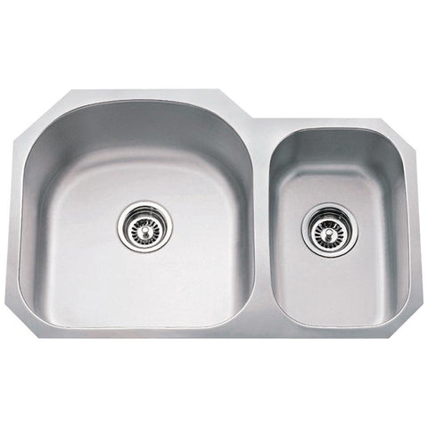 18 Gauge 70/30 Stainless Steel Undermount Sink Larger Left Bowl