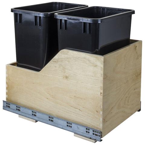 Preassembled 35-Quart Double Pullout Waste Container System