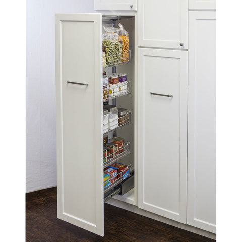 "12"" Polished Chrome Wire Pantry Pullout with Heavy-Duty Soft-Close"