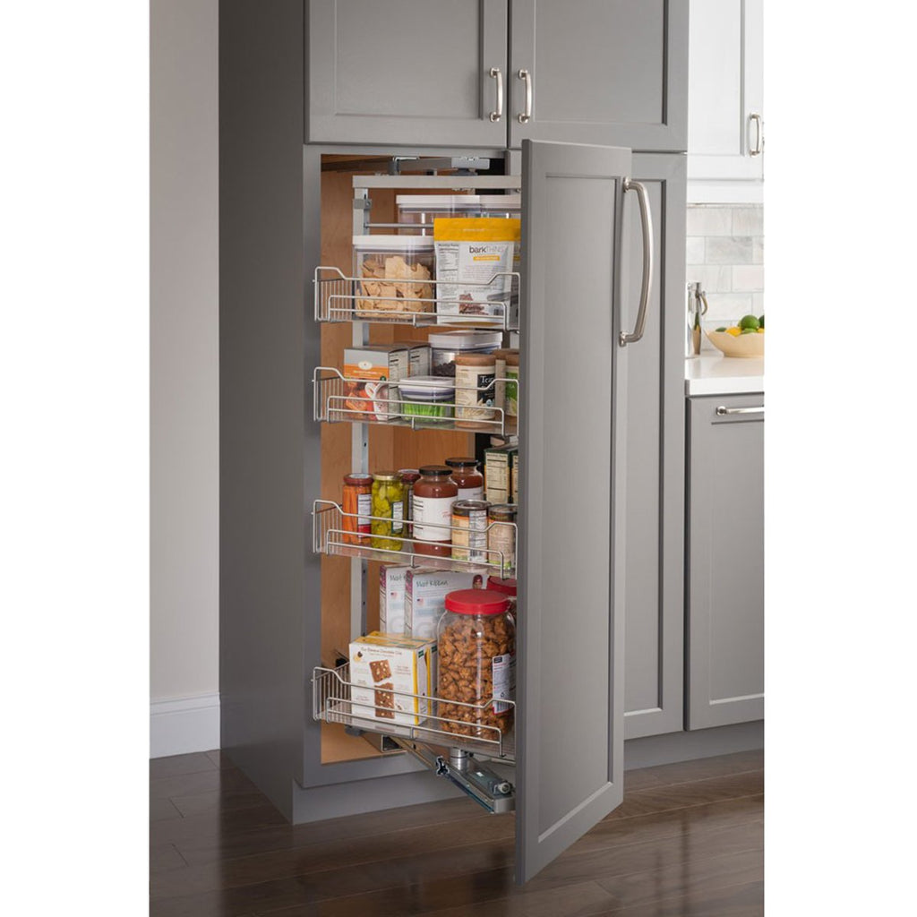 Polished Chrome Wire Pantry Pullout with Swingout Feature