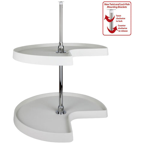 Kidney Plastic Lazy Susan Set with Chrome Hubs in White