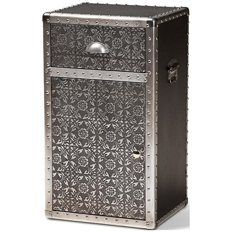 Baxton Studio Cosette Vintage Industrial Silver Metal Floral Accent Cabinet