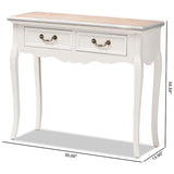 Baxton Studio Capucine Antique French Oak and White Wood 2-Drawer Console Table