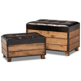 Baxton Studio Marelli Dark Brown 2-Piece Wood Storage Trunk Ottoman Set