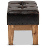 Baxton Studio Lenza Rustic Dark Brown Faux Leather 2-Piece Wood Ottoman Set
