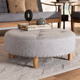 Baxton Studio Vinet Fabric Upholstered Natural Wood Cocktail Ottoman