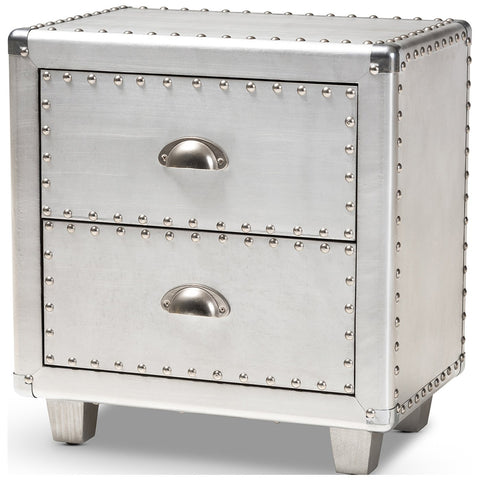 Baxton Studio Davet French Industrial Silver Metal 2-Drawer Nightstand