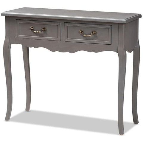 Baxton Studio Capucine Antique French Grey Wood 2-Drawer Console Table