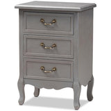 Baxton Studio Capucine Antique French Grey Wood 3-Drawer Nightstand