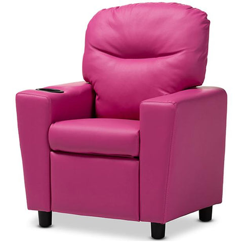 Baxton Studio Evonka Magenta Pink Faux Leather Kids Recliner Chair