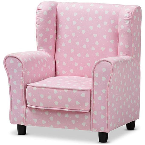 Baxton Studio Selina Pink and White Heart Patterned Fabric Kids Armchair