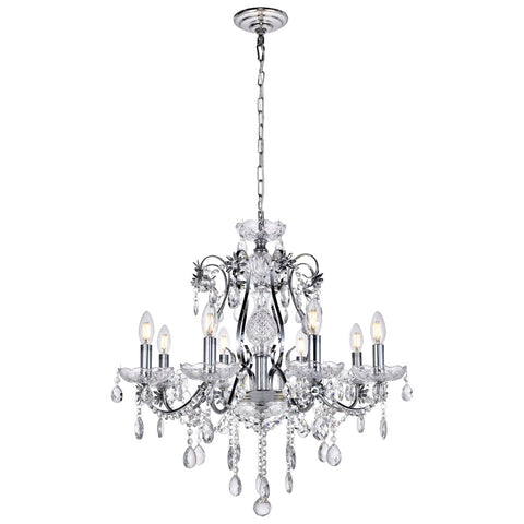Voltaire 8-Light 26-Inch Chrome Chandelier