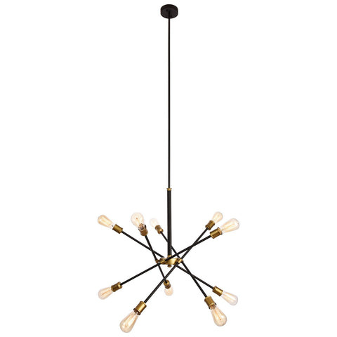 Axel 10-Light Chandelier in Black and Brass