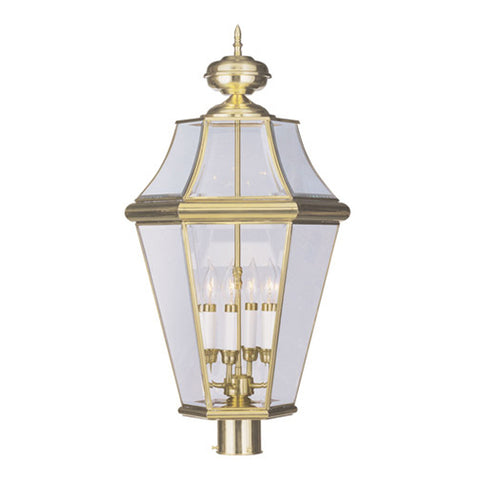Georgetown 4-Light Outdoor Post Lantern in Polished Brass