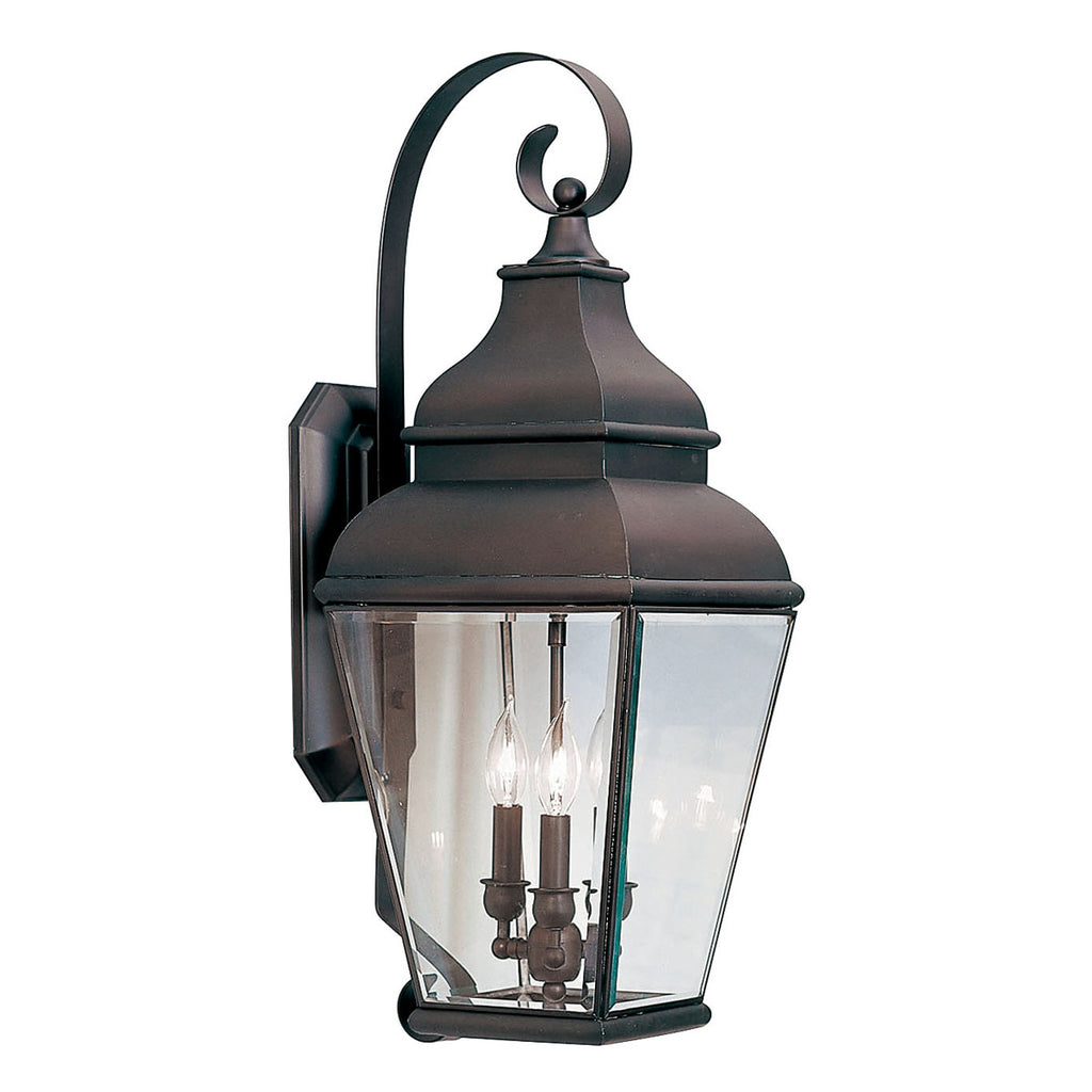 Exeter 3-Light Bronze Outdoor Wall Lantern