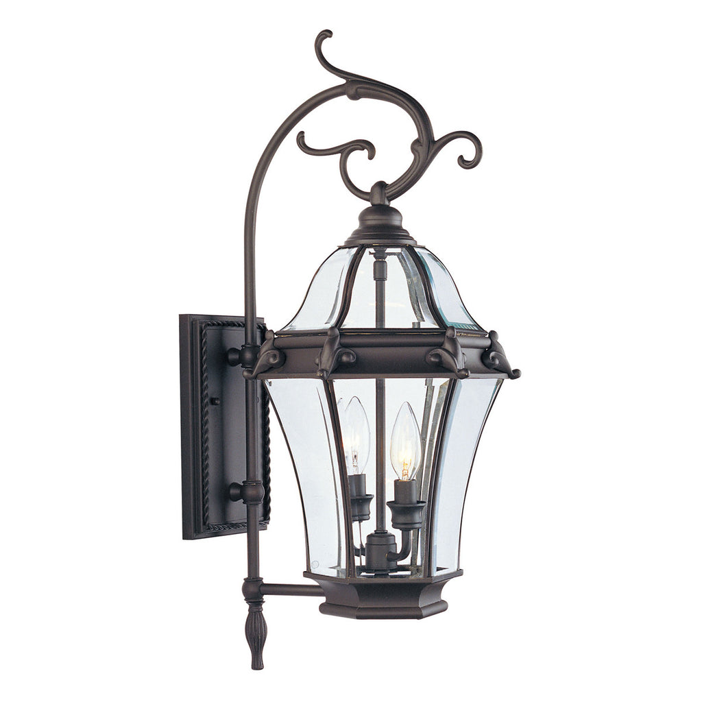 Fleur de Lis 2-Light Bronze Outdoor Wall Lantern