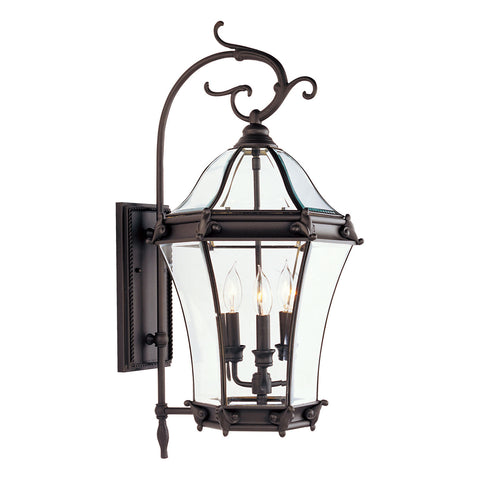 Fleur de Lis 3-Light Bronze Outdoor Wall Lantern