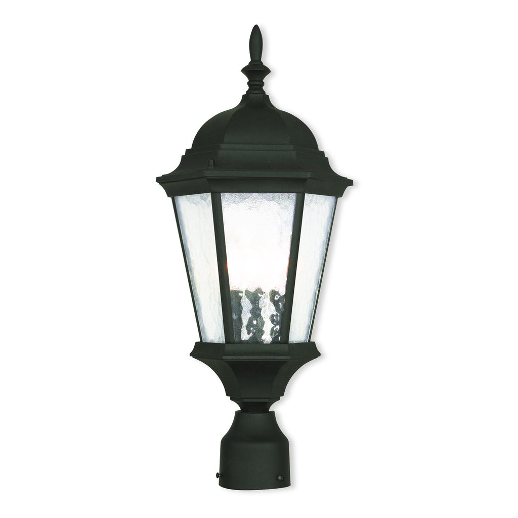 Hamilton 3-Light Textured Black Outdoor Chain-Hang Lantern