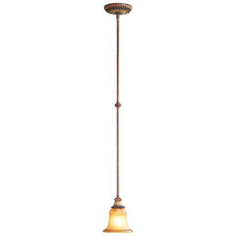 Villa Verona 1-Light Mini Pendant in Verona Bronze with Aged Gold Leaf Accents