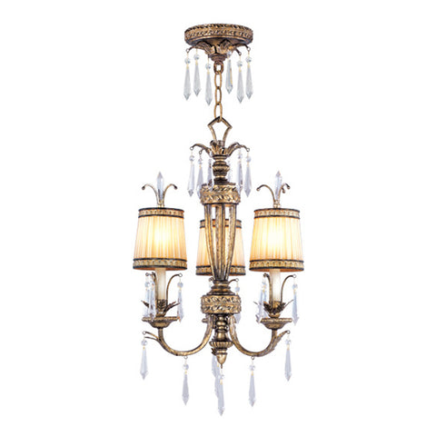La Bella 3-Light Hand Painted Vintage Gold Leaf Convertible Chain Hang/Ceiling Mount