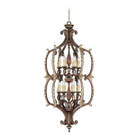 Seville 12-Light Foyer in Palacial Bronze with Gilded Accents
