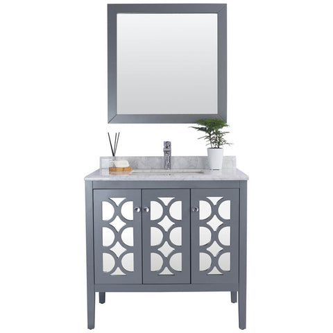 "Grey or White 36"" Single Vanity with Marble Countertop - Mediterraneo Collection"