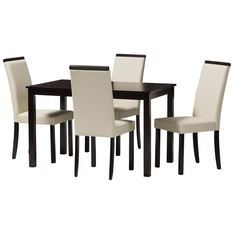 Baxton Studio Daveney Cream Faux Leather Upholstered 5-Piece Dining Set