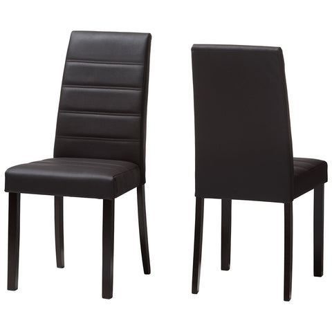 Baxton Studio Lorelle Brown Faux Leather Upholstered Dining Chair Set of 2