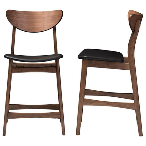 Latina Black Faux Leather Upholstered 24-Inches Counter Stool, Set of 2