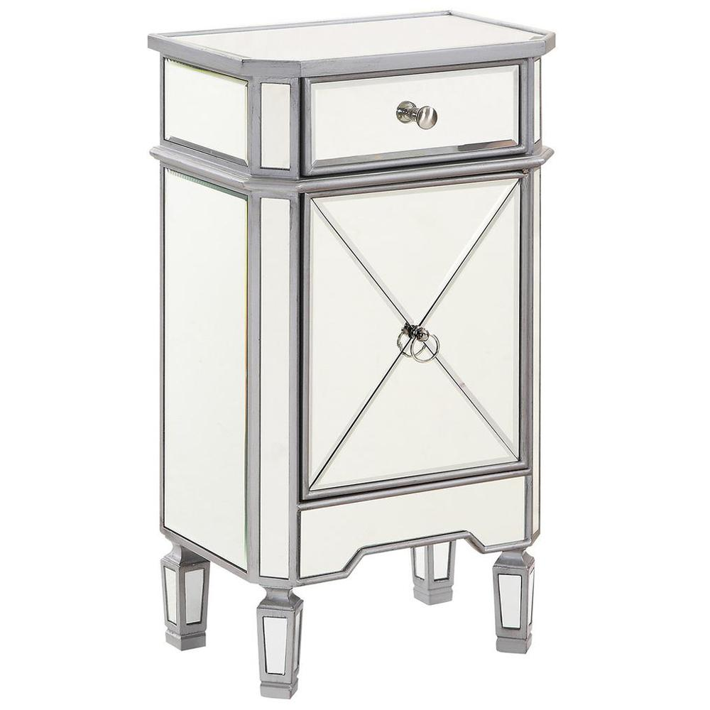 "1-Drawer 1 Door Cabinet 18"" in Silver Paint"