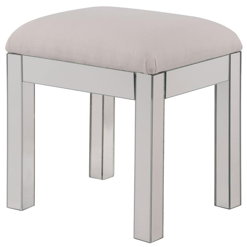 "Dressing Stool 18"" in Clear Mirror"