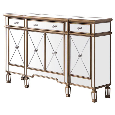 Contempo 3-Drawer 4-Door Cabinet in Gold Clear