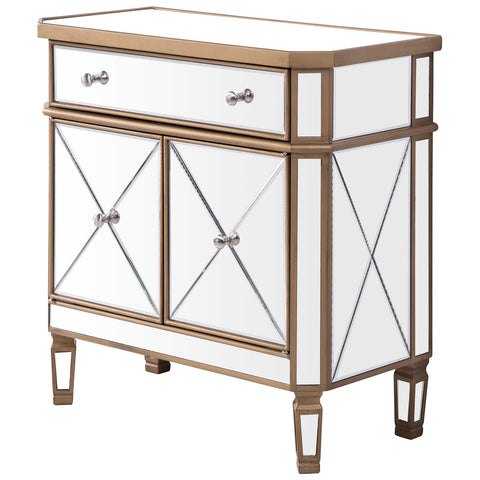 Contempo 1-Drawer 2-Door Cabinet in Gold Clear